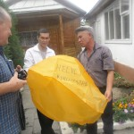 Helvetas Kyrgyzstan sending a sky lantern with their message to the Organic community